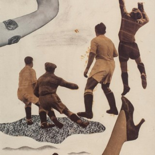 <em>Nicolás Lekuona: Futbolistas</em><br>Photomontage · Collage and pencil on paper · 37,5 x 19 cm. Dated · 1935