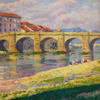 <em>Darío de Regoyos: Puente de Miranda de Ebro</em><br>Oil on canvas · 55 x 47 cm. Signed