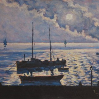 <em>Darío de Regoyos: El humo del  Express (Las Arenas)</em><br>Oil on canvas · 26 x 33 cm. Signed · Circa 1927