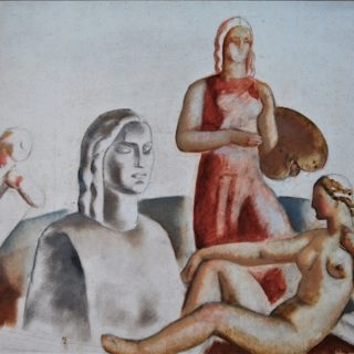 <em>Aurelio Arteta: Estudio para 'Alegoría de las Artes'</em><br>Oil and pencil on paper · 26,5 x 44 cm. · Without signature
